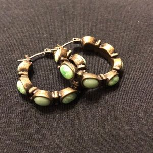 Turquoise and bronze hoops